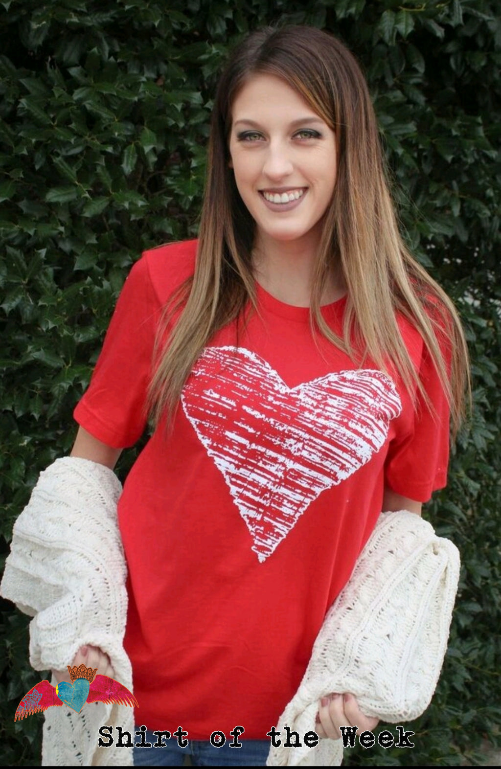 Zig Zag White Heart Red Crew Tee - Bless UR Heart Boutique