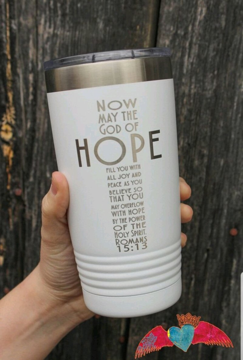 Hope Cross Engraved Tumbler White 20 oz - Bless UR Heart Boutique