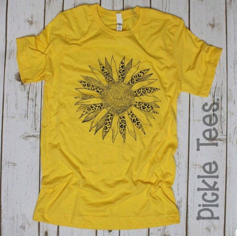 Leopard Sunflower  Golden Crew Tee - Bless UR Heart Boutique