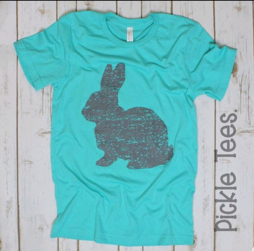 Gray Bunny Teal Crew Tee - Bless UR Heart Boutique