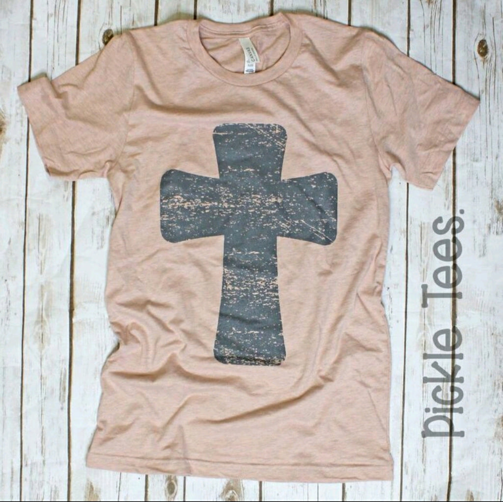 Gray Cross Peach Crew Tee - Bless UR Heart Boutique