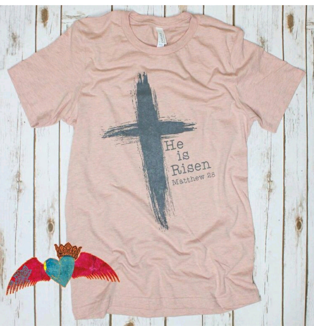 He is Risen Cross Crew Tee - Bless UR Heart Boutique