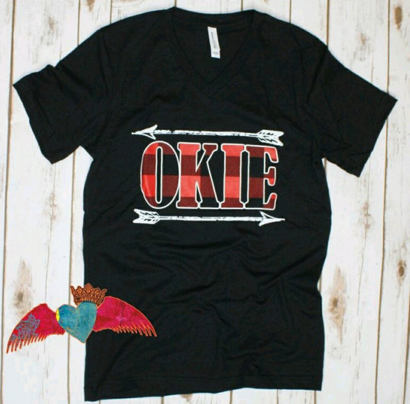 Okie Buffalo Plaid V-Neck Tee - Bless UR Heart Boutique