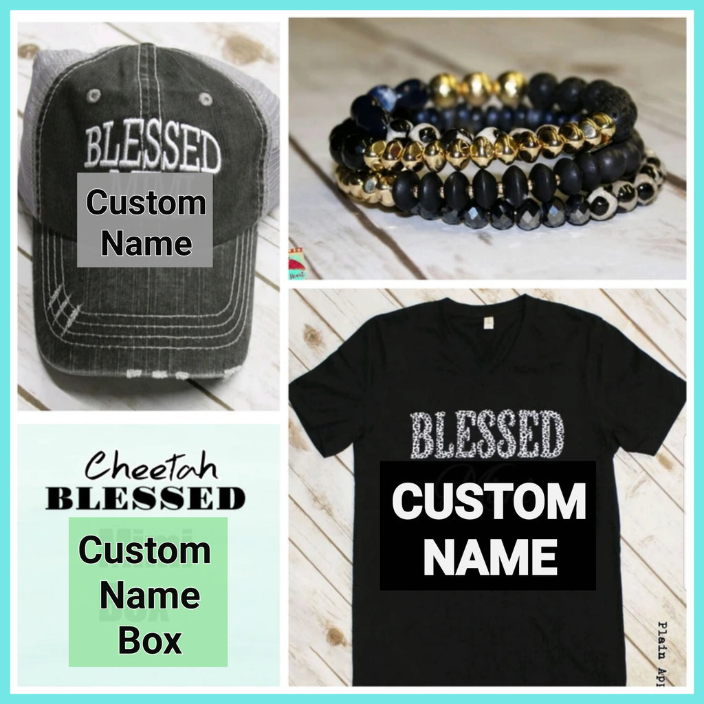 Cheetah Blessed CUSTOM NAME Box - Bless UR Heart Boutique