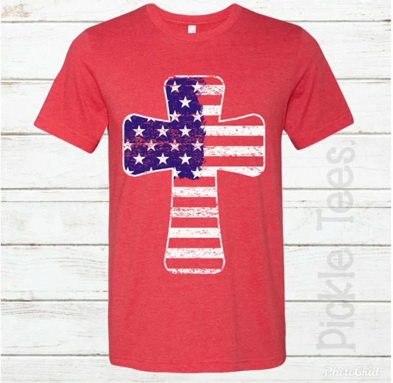 Patriotic Flag Cross Red Crew - Bless UR Heart Boutique