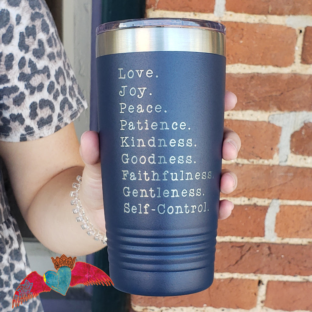 Fruit of the Spirit NAVY 20oz Tumbler - Bless UR Heart Boutique