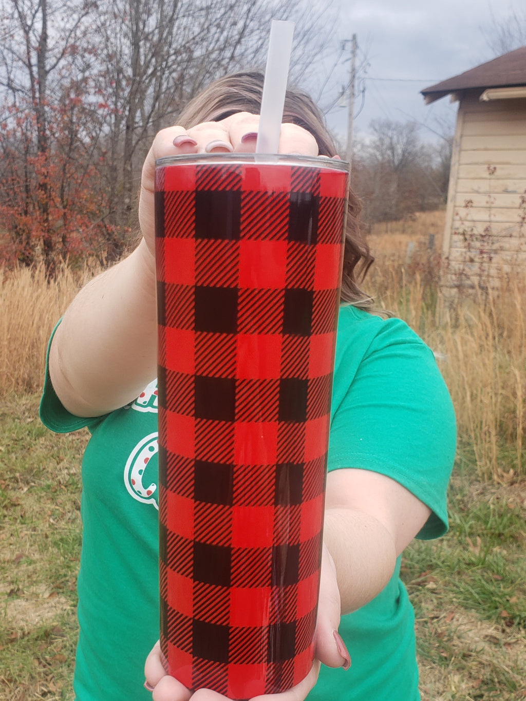 Red Buffalo Plaid 20oz Skinny Tumbler - Bless UR Heart Boutique