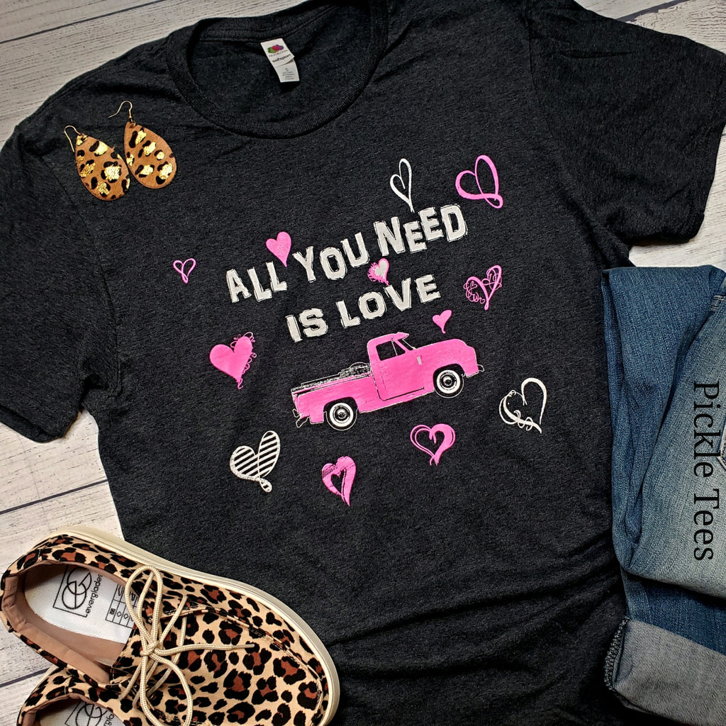 All You Need is Love Pink Truck Tee - Bless UR Heart Boutique