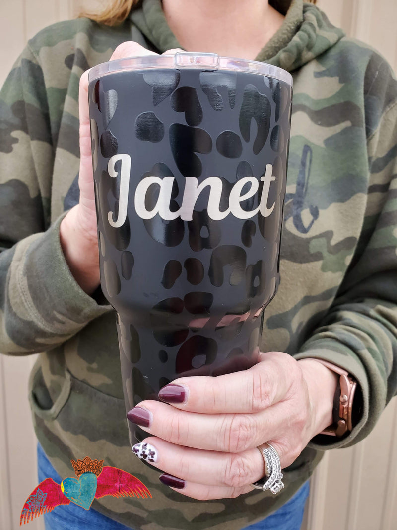 Black Leopard 30 oz Tumbler - Bless UR Heart Boutique
