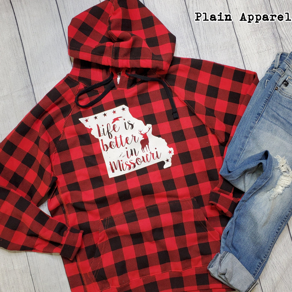 Buffalo Plaid Life is Better MISSOURI - Bless UR Heart Boutique