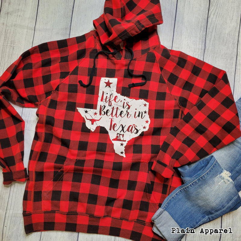 Buffalo Plaid Life is Better TEXAS - Bless UR Heart Boutique