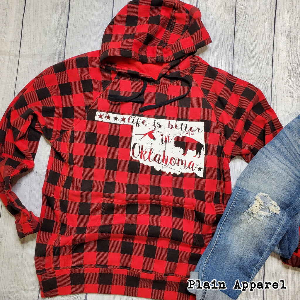 Buffalo Plaid Life is Better Oklahoma - Bless UR Heart Boutique
