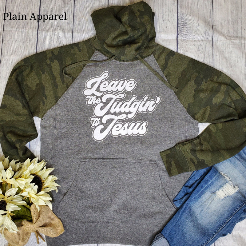 Leave the Judgin to Jesus Camo Hoodie - Bless UR Heart Boutique