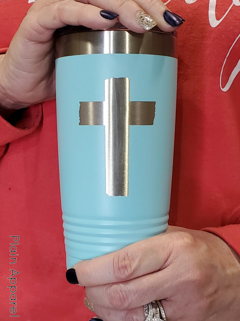 Engraved Cross Turquoise Tumbler - Bless UR Heart Boutique