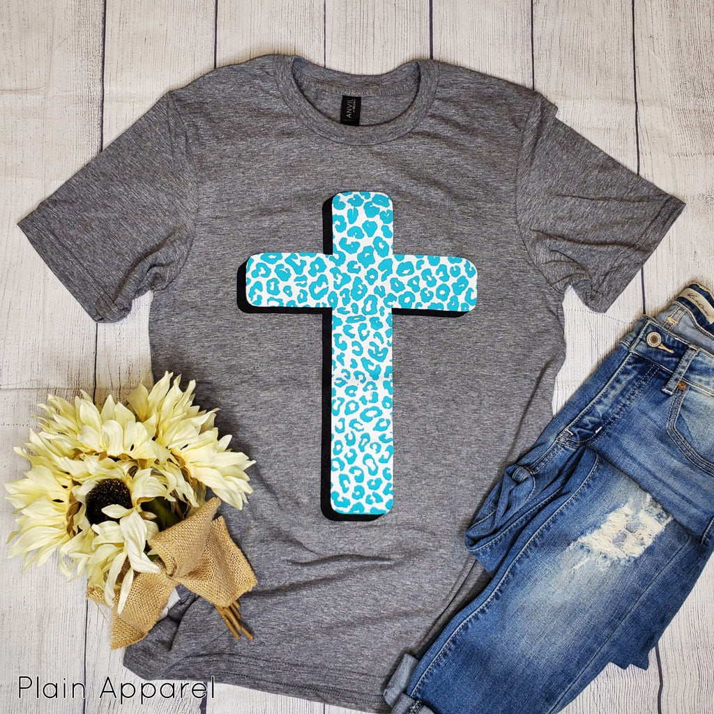 Turquoise Leopard Cross Tee - Bless UR Heart Boutique