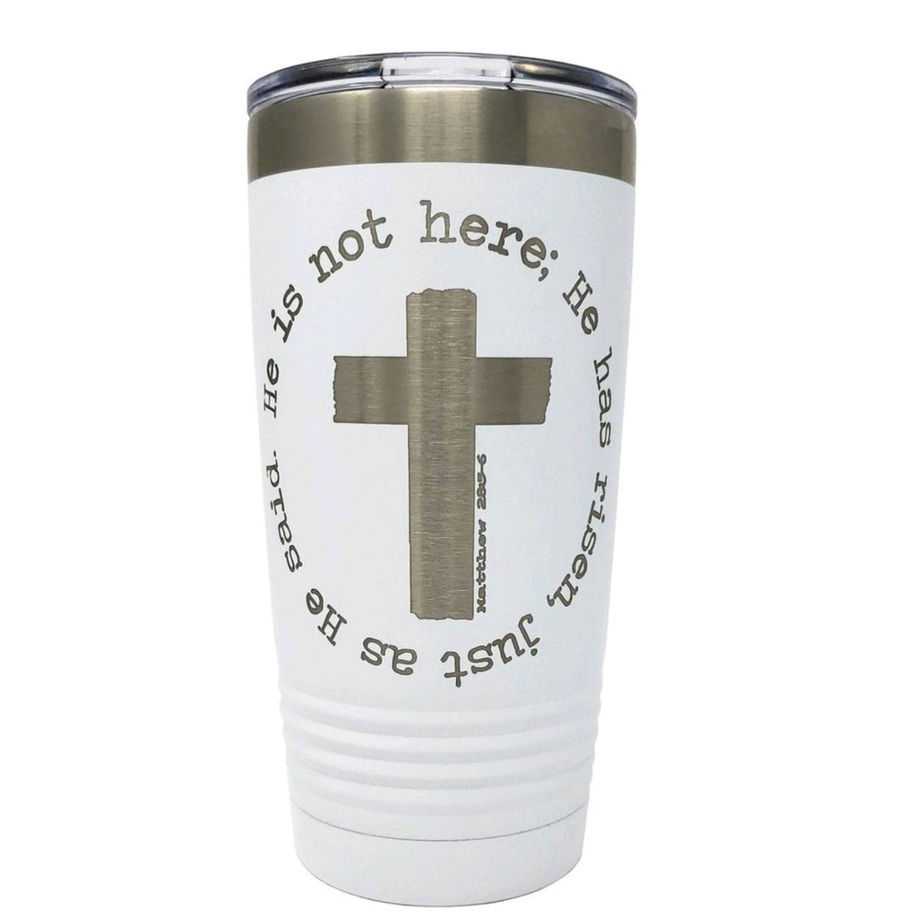 He is not Here Cross Tumbler •SALE• - Bless UR Heart Boutique
