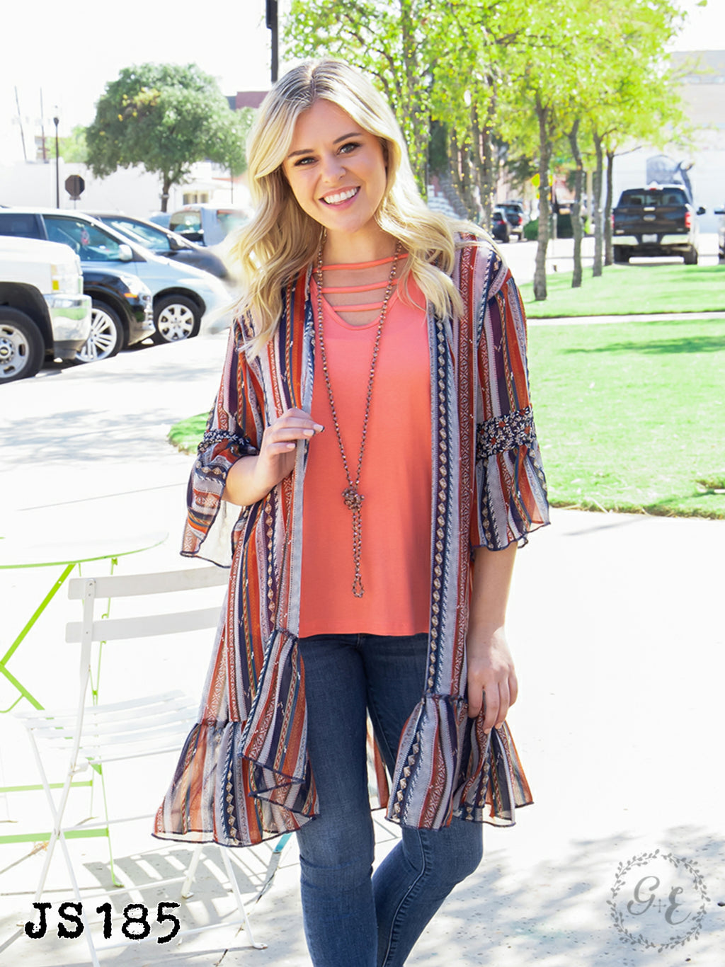 Stagecoach Stripes Kimono JS185 - Bless UR Heart Boutique