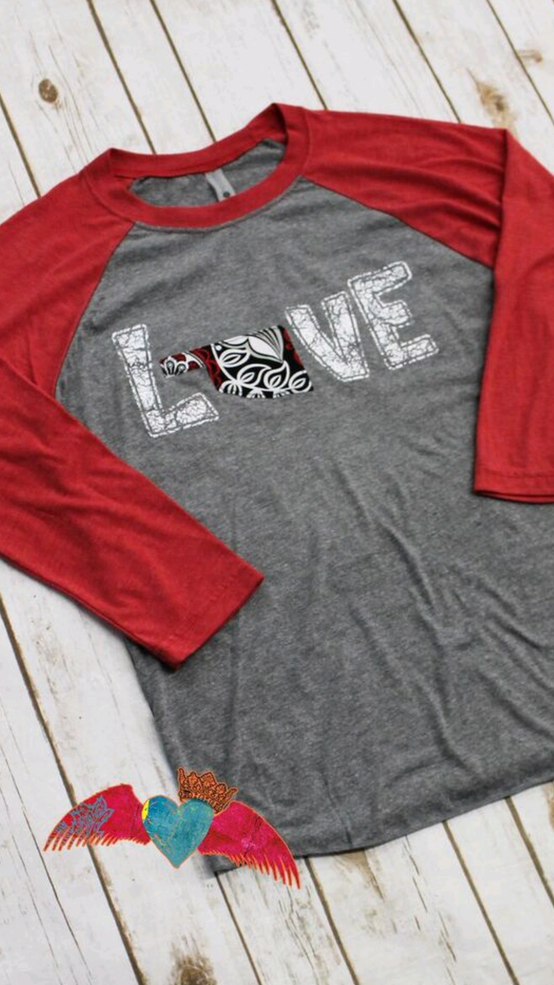 Oklahoma LOVE Raglan - Bless UR Heart Boutique