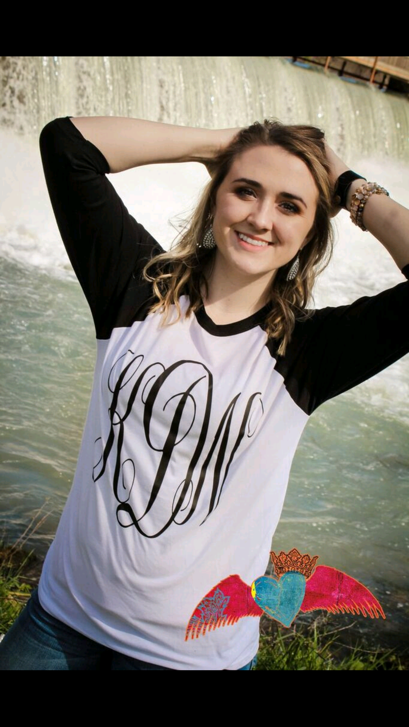 Classic Black White Monogram Raglan - Bless UR Heart Boutique