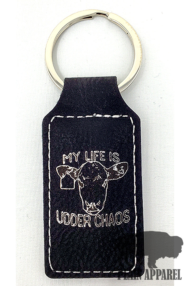 Udder Chaos Engraved Keychain - Bless UR Heart Boutique