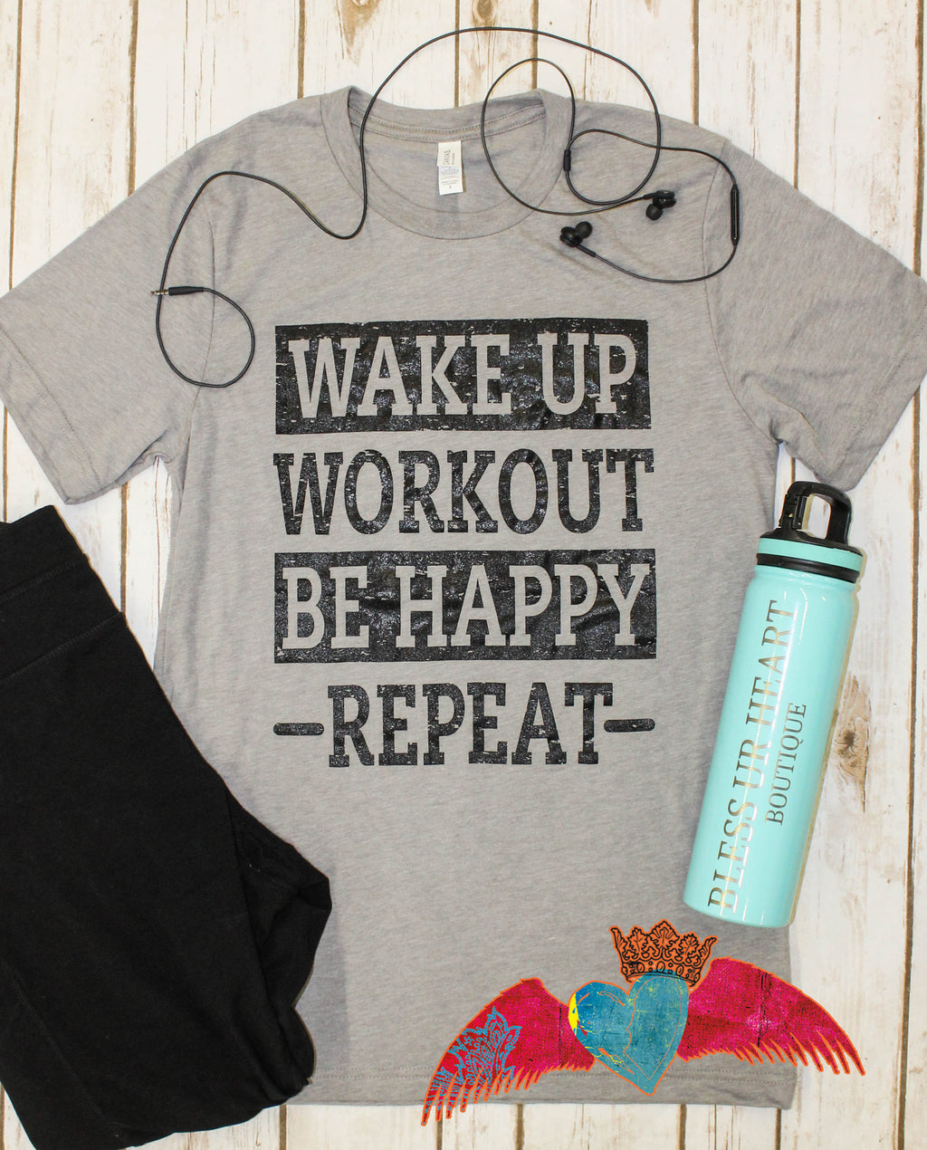Workout/Repeat Crew Neck Tee