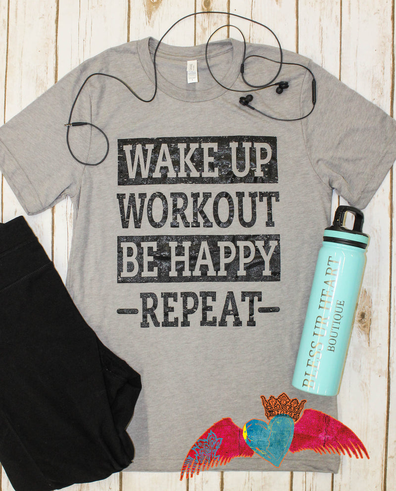 Workout/Repeat Crew Neck Tee - Bless UR Heart Boutique
