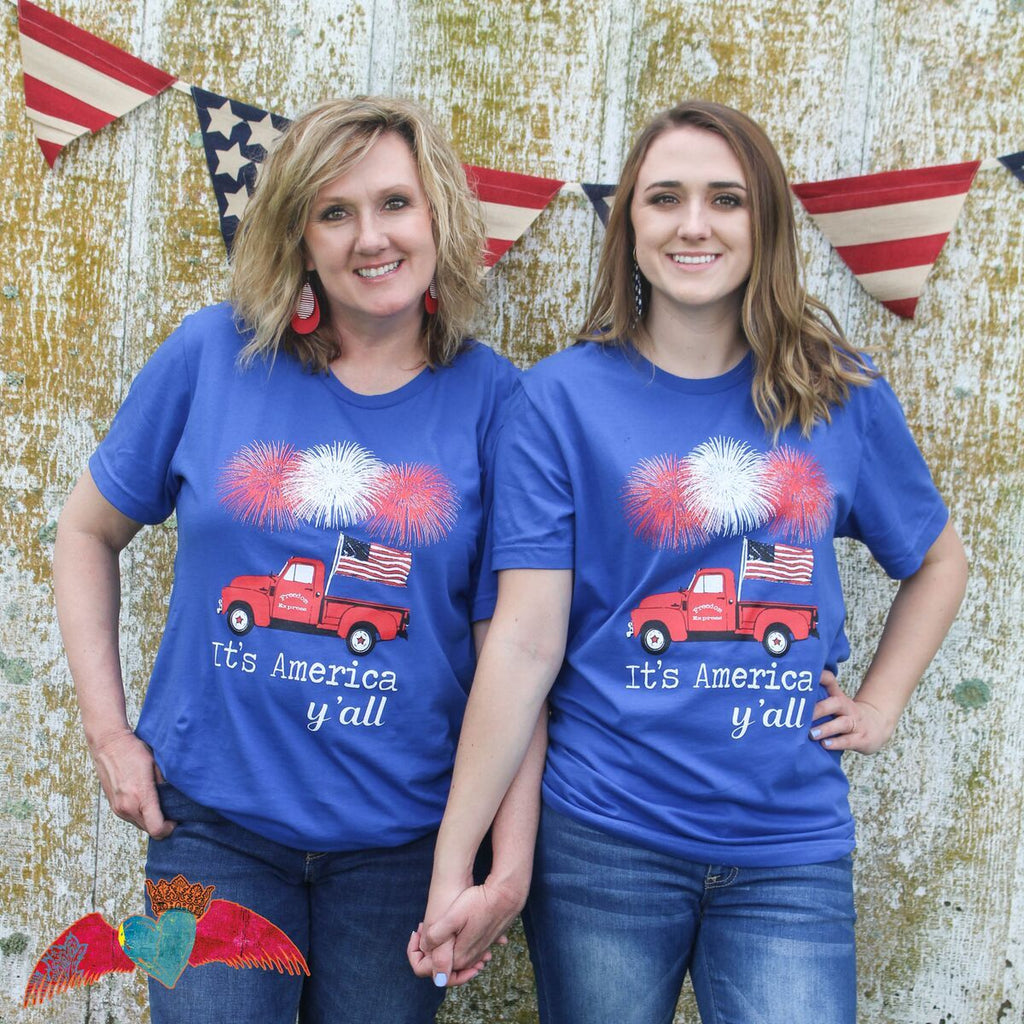 It's America Y'all Truck Crew Neck - Bless UR Heart Boutique