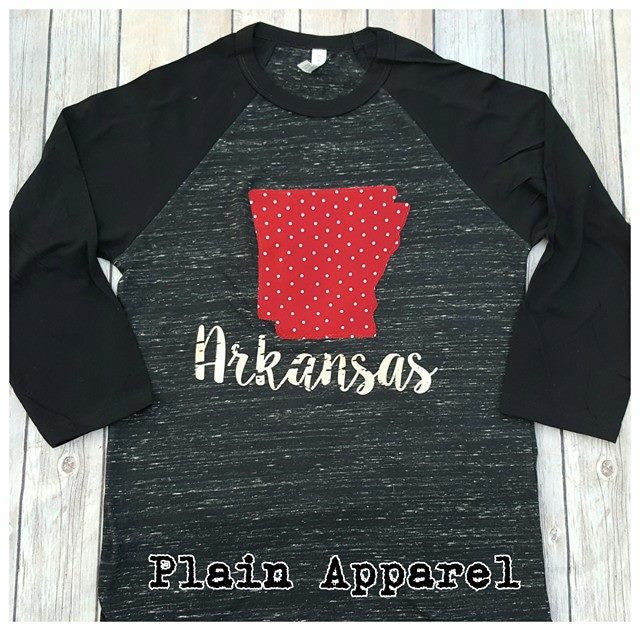 Arkansas Red Dot Raglan - Bless UR Heart Boutique