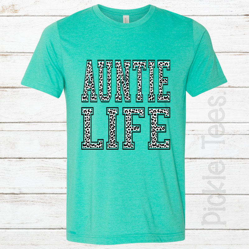 Snow Leopard Auntie Life SEA GREEN Crew Neck Tee - Bless UR Heart Boutique