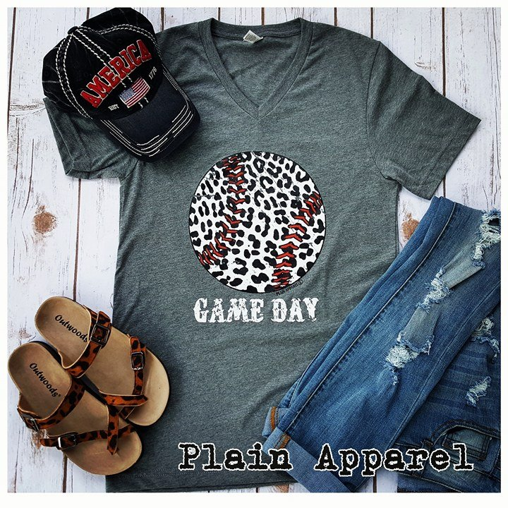 Baseball Leopard Gray V-Neck