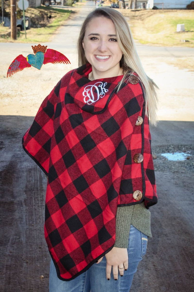 Buffalo Plaid Poncho *One Size* - Bless UR Heart Boutique