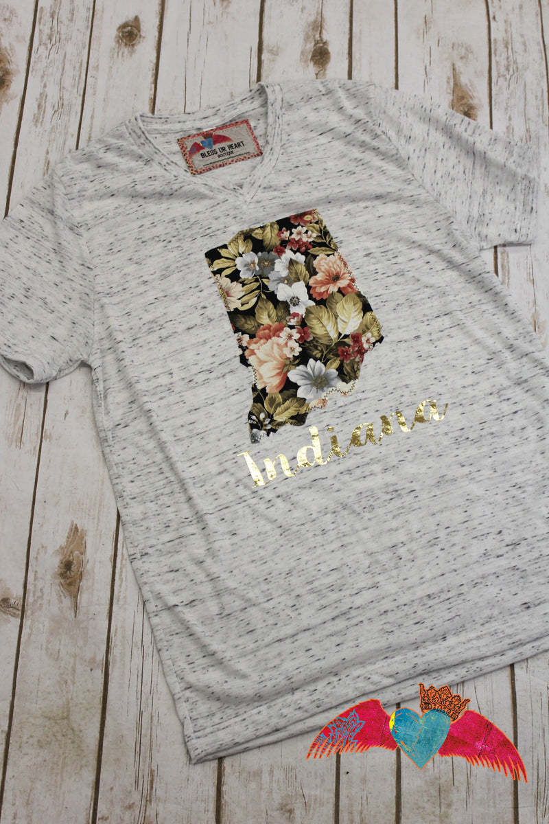 Indiana Forever Floral V-Neck Top - Bless UR Heart Boutique