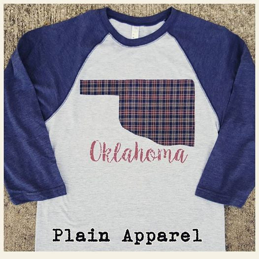 Blue Plaid Oklahoma Raglan