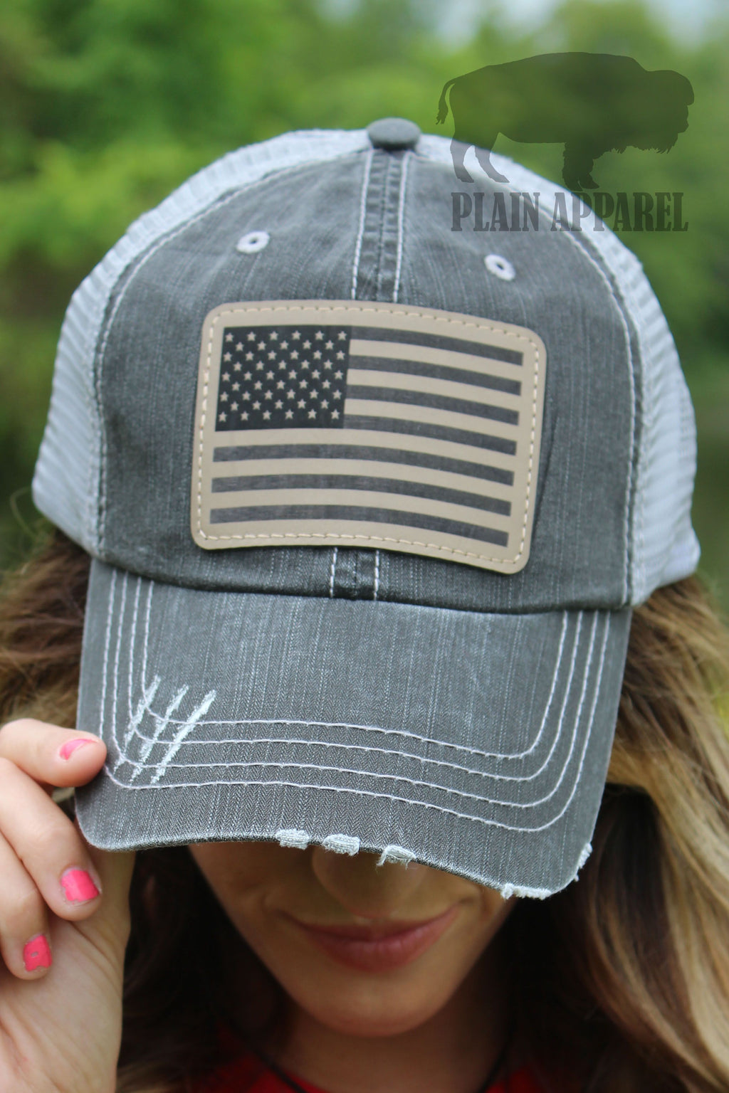 American Flag Engraved Patch Cap GRAY - Bless UR Heart Boutique