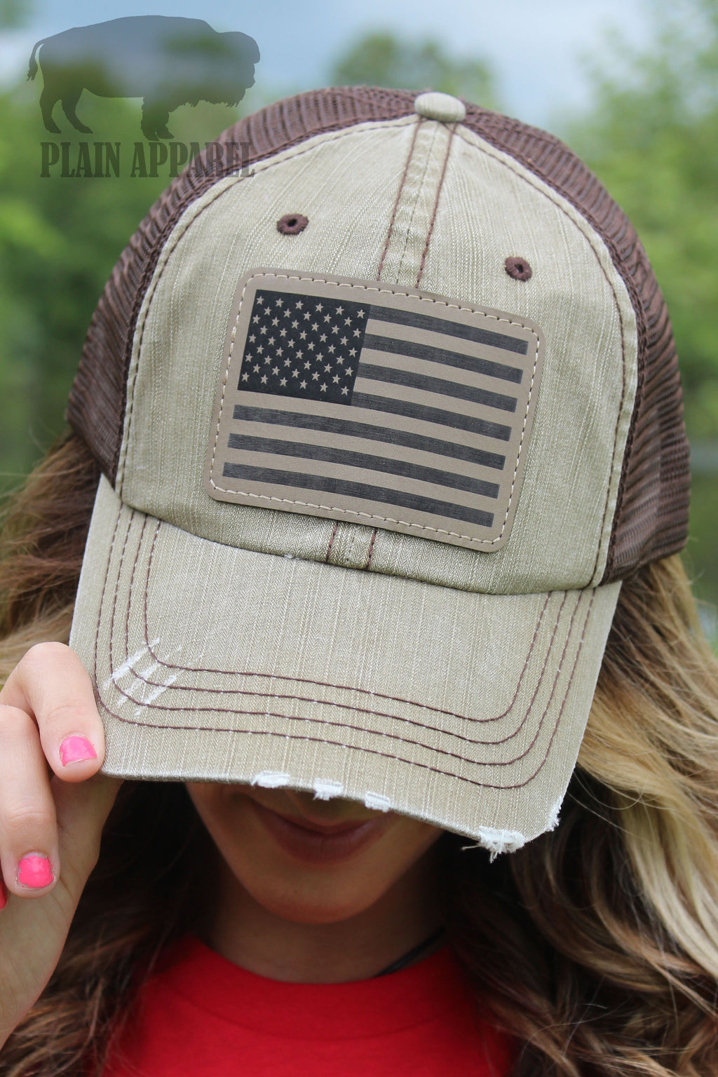 American Flag Engraved Patch Cap TAN - Bless UR Heart Boutique