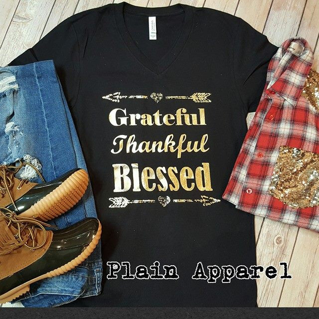 Grateful Thankful Blessed on Bella V-Neck