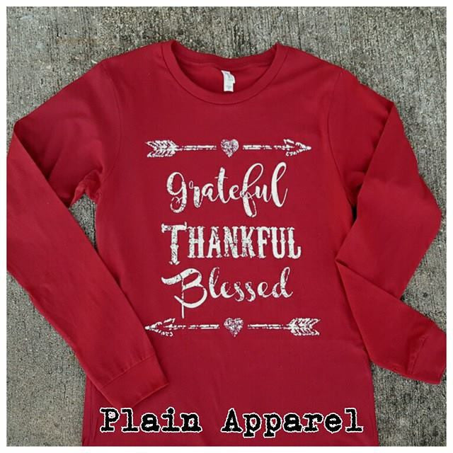 Grateful Thankful Blessed Long Sleeve