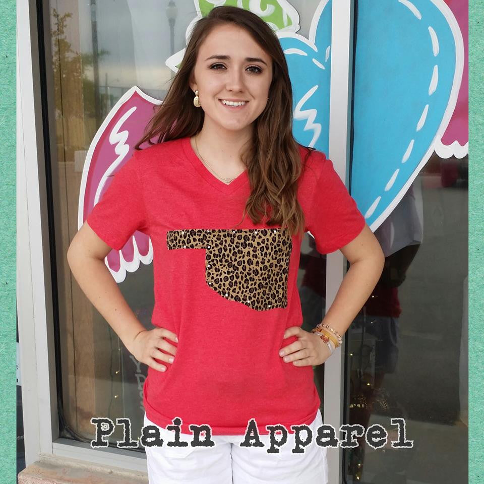 Leopard Oklahoma on Bella V-Neck RED - Bless UR Heart Boutique