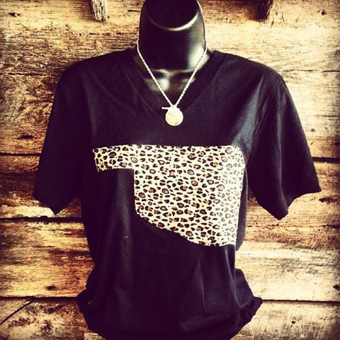 Leopard Oklahoma on Bella V-Neck - Bless UR Heart Boutique