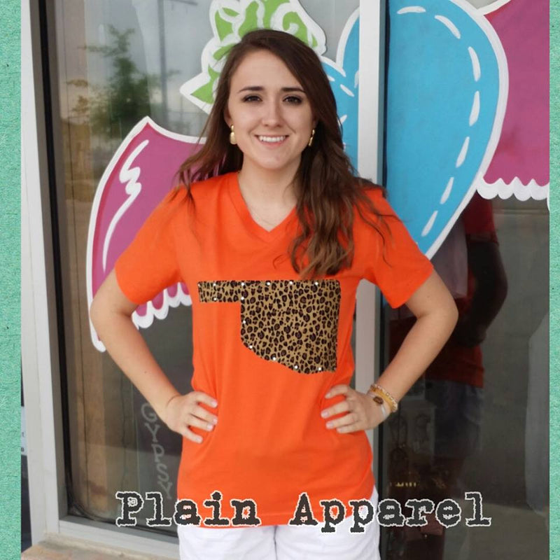 Leopard Oklahoma Orange V-Neck - Bless UR Heart Boutique