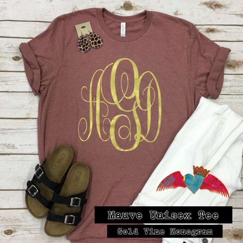Mauve Crew Gold Monogram Tee - Bless UR Heart Boutique