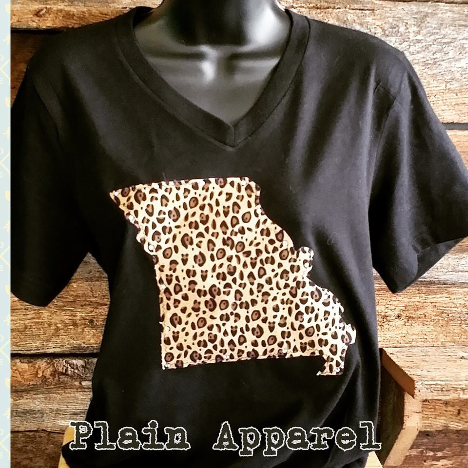 Missouri Leopard on Bella V-Neck - Bless UR Heart Boutique