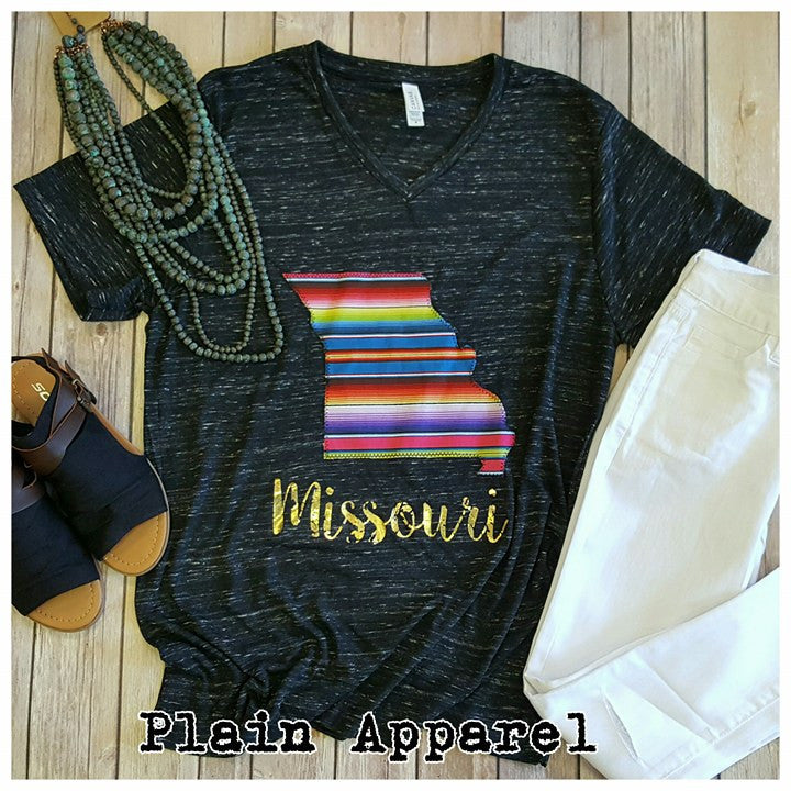 Missouri Serape V-Neck - Bless UR Heart Boutique