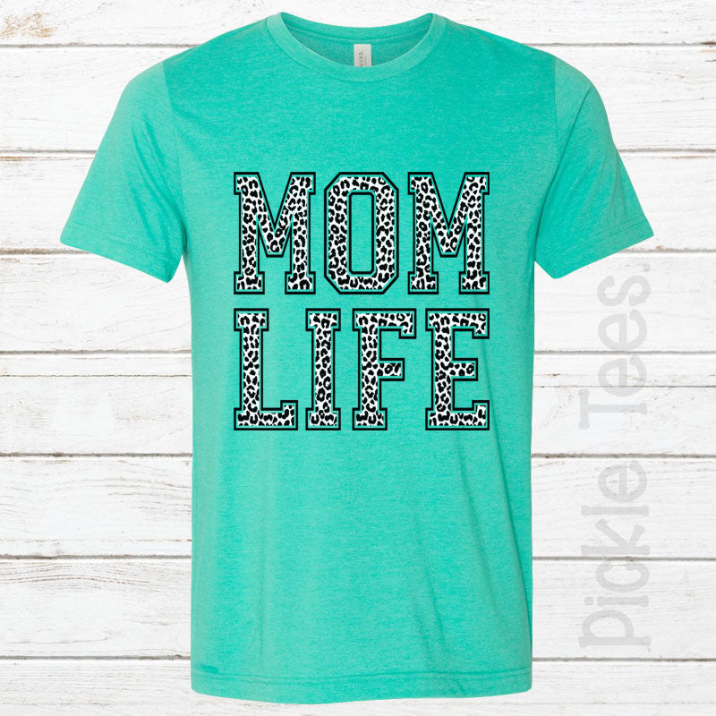 Snow Leopard Mom Life SEA GREEN Crew Neck Tee - Bless UR Heart Boutique