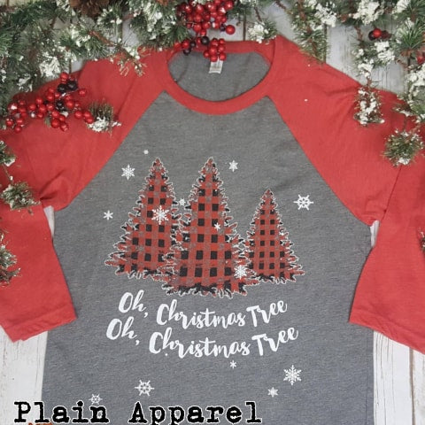 Oh, Christmas Tree RAGLAN - Bless UR Heart Boutique