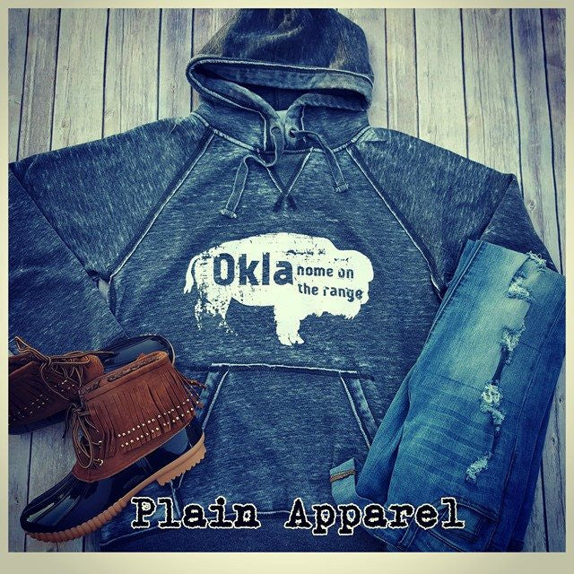 Okla Buffalo Vintage Distressed Hoodie - Bless UR Heart Boutique