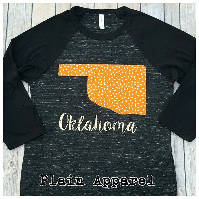Orange Dot Oklahoma Raglan - Bless UR Heart Boutique