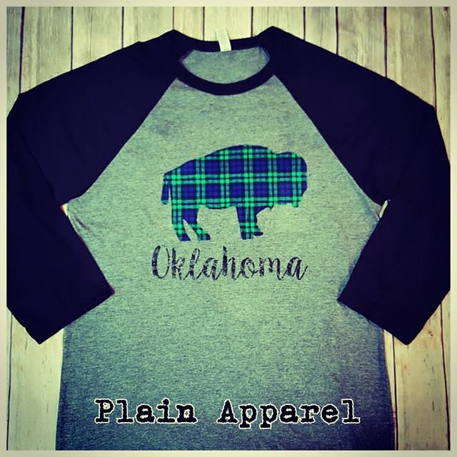 Plaid Oklahoma Buffalo Raglan