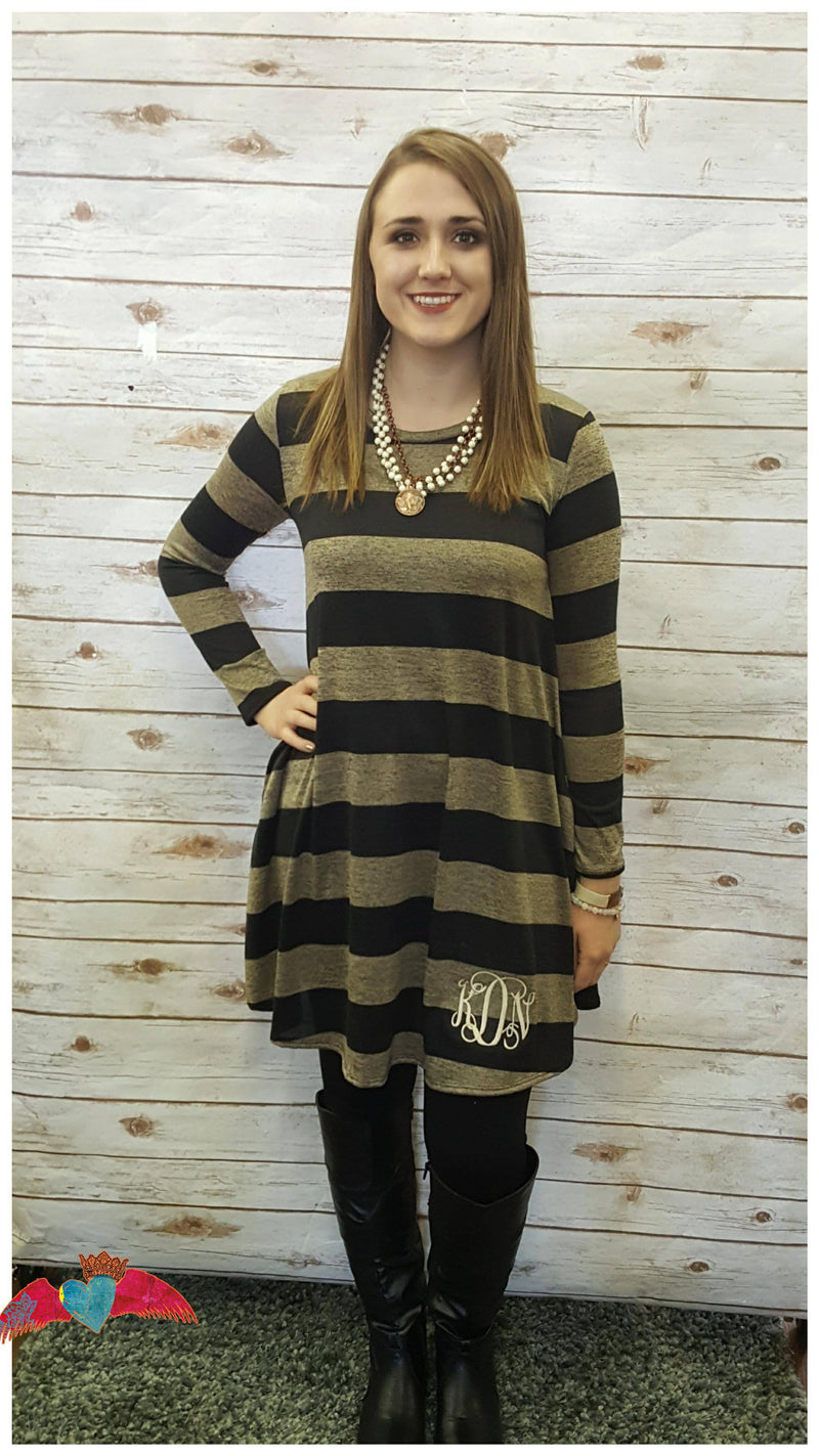 Tan and Black Heather Stripe Tunic