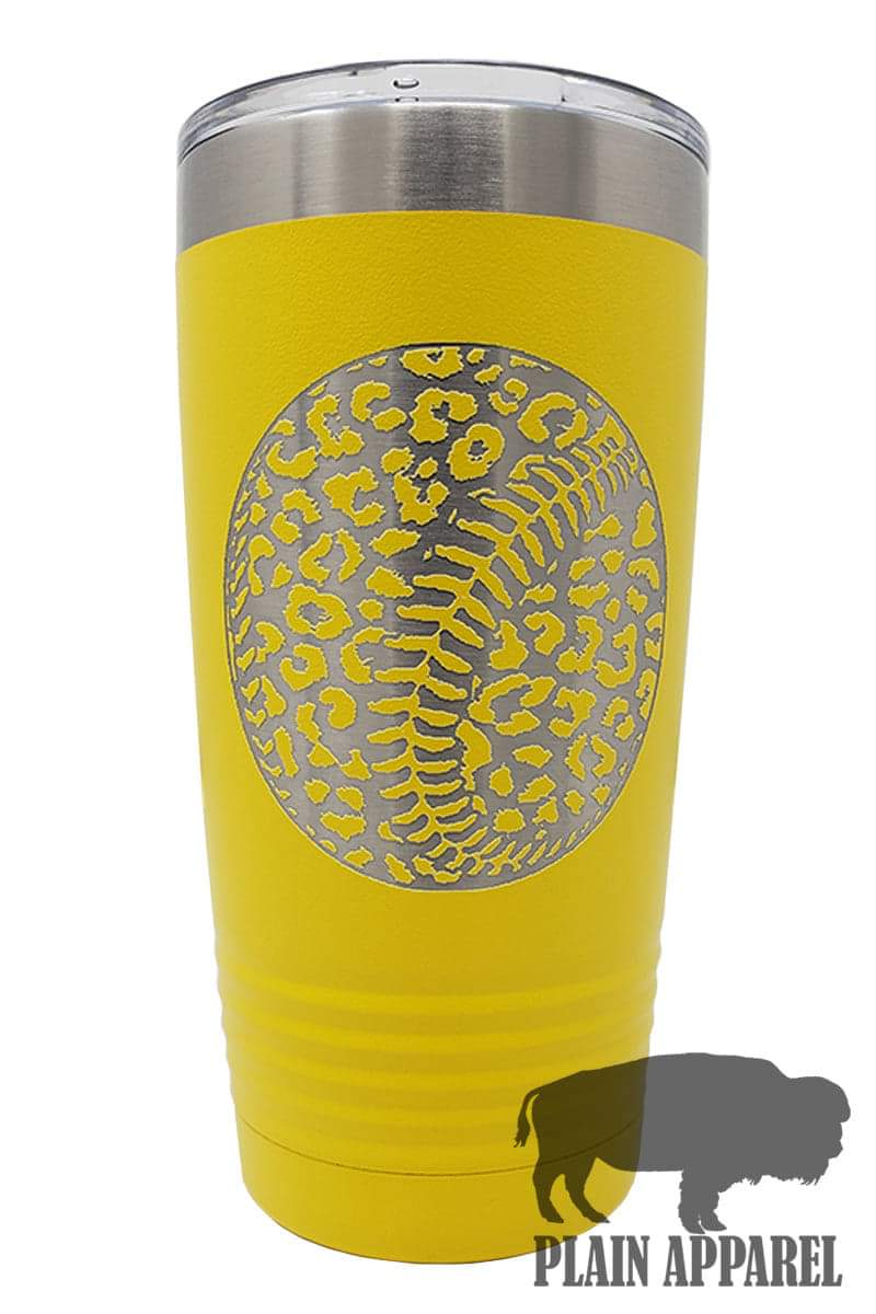 Leopard Softball Engraved Tumbler - Bless UR Heart Boutique